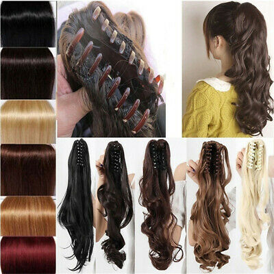 Wig Hair Styling Tool Jaw Horse Tail Curly Wavy Clip On Ponytail Hairpiece