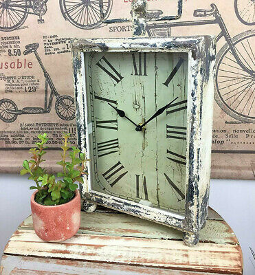 Rustic Mantel Clock Antique Distressed Rectangle Table Top Roman Numerals Time