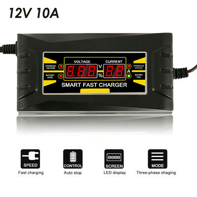 12V 10A Full Automatic Intelligent Smart Car Battery Charger Lead Acid/GEL
