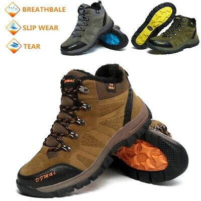 Mens Waterproof Hiking Boots Fur Lined Walking Ankle Hi Tops Trainers Shoes Size
