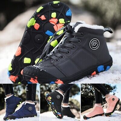Girls Boys Warm Fur Lined Winter Snow Shoes Trainers Kids Anti-Slip Ankle Boots