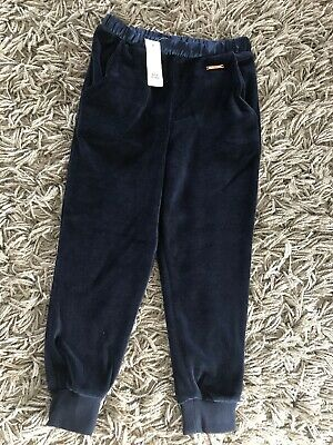 Brand New 5-6 Yrs River Island Girls Navy Velour Tracksuit Bottoms Joggers