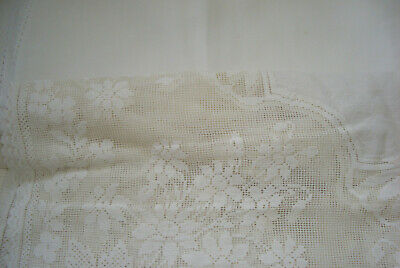 Vintage Lace and Linen Small Table Cloths x 2