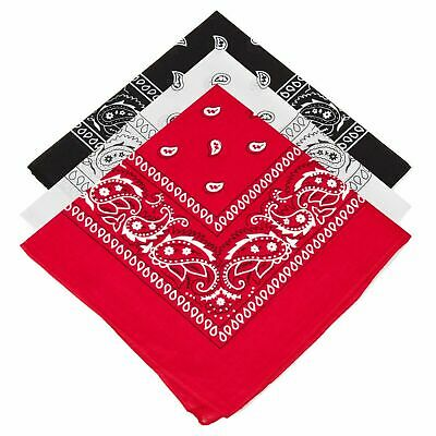 Pack Of 3 COTTON Paisley Design Bandanas Black Red And White