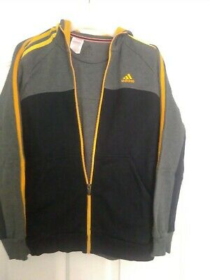 addidas boys tracksuit age 13-14. black,grey and yellow,