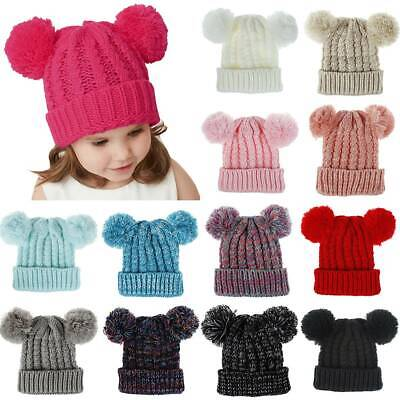 Kids Boys Girls Knit Beanie Hats Cute Two Pom Pom Winter Thermal Knitted Hat Cap