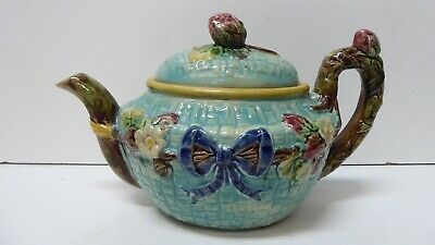Antique Majolica Teapot Embossed Strawberries Flowers Basket Weave Ribbon Bow