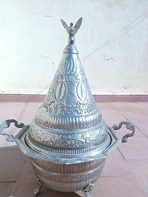 Antique Solid Original Silver Arabic Traditional Signed Bowl Persian Handcarved