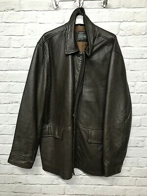 Marks & Spencer brown leather jacket label size 104-109cm 41-43 inches