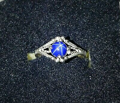 Beautiful Vintage Estate Star Sapphire Sterling Silver Ring