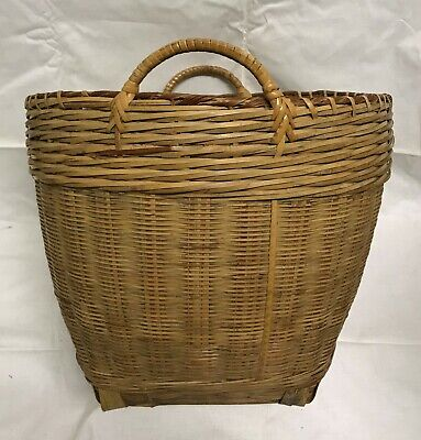 Antique Chinese Republic Woven Rattan Bamboo Wicker 2 Handle Basket Paper Label