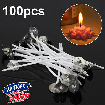 100pcs candle wicks Sustainers Pre AU Smoke Low Waxed Cotton Wick with Core Tabs