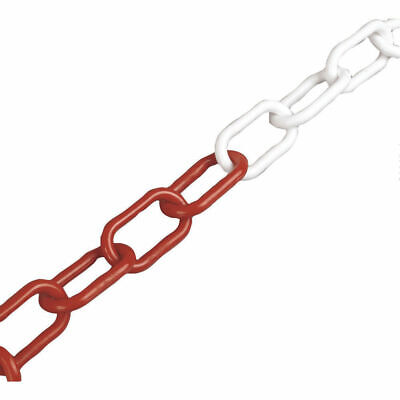 NEW! VFM Red/White 6mm Short Link Plastic Chain for use with chain barrier syste