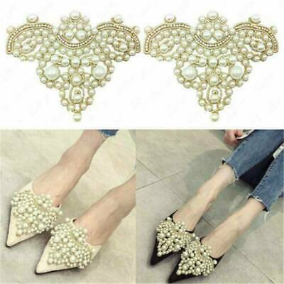 2pcs Women Pearl Flower Shoes Patch Rhinestones Iron on Badge Applique DIY Craft
