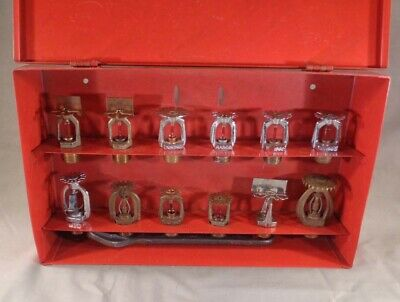 Automatic Sprinklers Reserve Supply Metal Box w/ 12 Diff. Sprinkler Heads