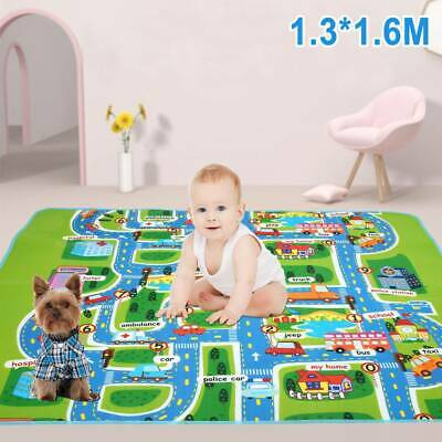 Giant Kids Baby City Playmat Fun Town Road Cars Play Carpet Rug Foam Toy Mat