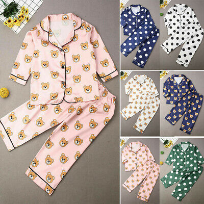 UK 2Pcs Kid Baby Boy Girl Silk Satin Pajamas Set Long Sleeve Sleepwear Nightwear