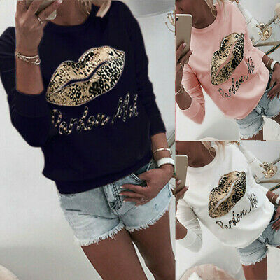 Womens Unique Lips Printed Sweatshirt Ladies Pullover T-shirt Autumn Tops Blouse