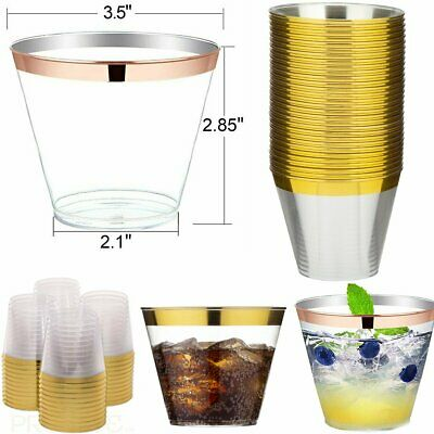 60pcs Disposable Plastic Cups Clear Dessert Tumblers Cocktail Wine Drink 270ml