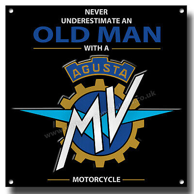 """NEVER UNDERESTIMATE AN OLD MAN WITH AN INDIAN MOTORCYCLE METAL SIGN.8/"""" X 8/"""""""