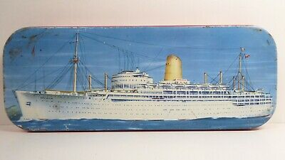 Vintage Griffiths Melbourne Sweets Chocolate Toffee Tin Arcadia Liner Steam Ship