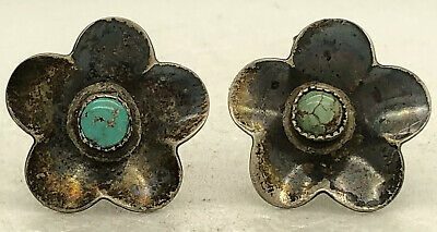 "Early Navajo Sterling Silver Turquoise Earrings Flower Native American 3/4"" 5g"