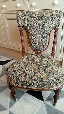 Superb Antique Victorian Walnut Tapestry Nursing Chair/Prie Dieu Prayer Chair