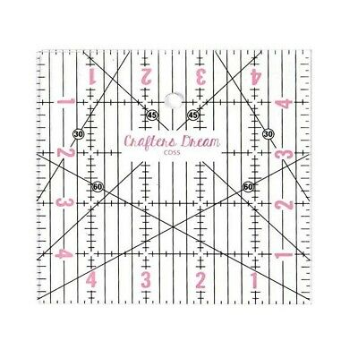 """Crafters Dream Transparent Quilting & Patchwork Ruler Template 5"""" x 5"""" CD55"""