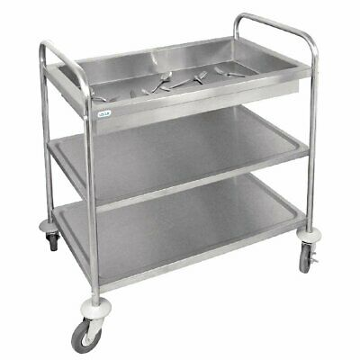 Vogue Stainless 3 Tier Deep Tray Cutlery Clearing Trolley 940 x 855 x535mm CC365