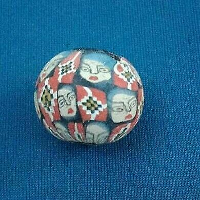 Vintage Islamic Glass Blue Hair Surprise Lucky Face Mosaic Glass Eastern Bead