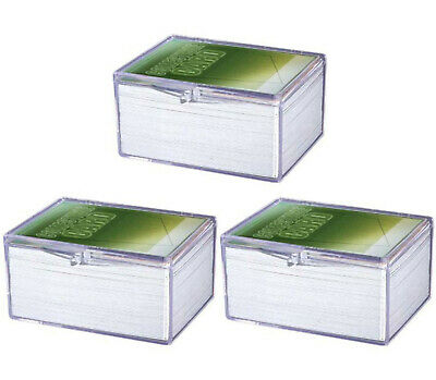 Lot of 10 Ultra Pro 100ct Count Hinged Clear Card Storage Box Boxes New