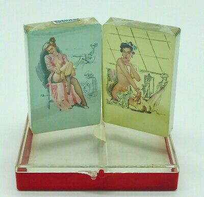 Vintage New Pin Up Playing Cards 2 Sets of Decks Sealed Bombshell Sexy Naughty