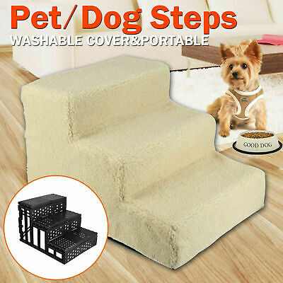 Pet Stairs Dog Cat 3 Steps Portable Ladder Ramp Indoor Fleece Covered Staircase