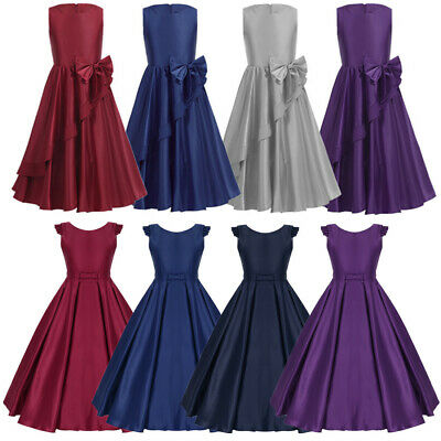 Satin Flower Girl Dress Kids Princess Party Wedding Bridesmaid Formal Tutu Dress