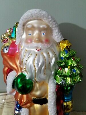 "Large QVC Thomas Pacconi Glass Santa 16"" blown Glass table ornament original box"