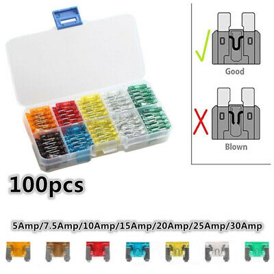 100x Assorted Auto Car Micro Mini Low Profile Blade Fuse 5A 7.5A 10A 15A 20A 25A