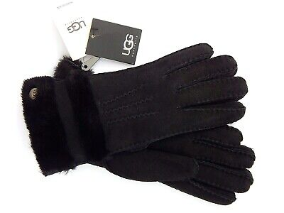 UGG WOMENS BLACK LEATHER SHEARLING GLOVES sz M NEW AUTHENTIC
