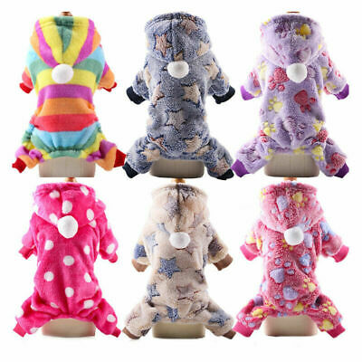 Small Dog Cat Pajamas Jumpsuit Winter Warm Dog Clothes Hoodies Chihuahua Pajamas