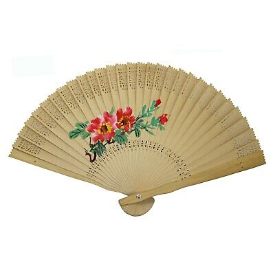 Traditional Sandalwood Chinese Fan With Beautiful Peony Painting n442