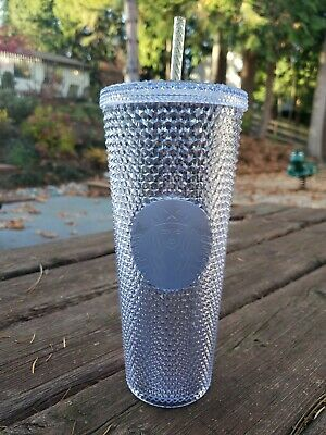 Starbucks Holiday 2019 Venti Bling Platinum Silver Studded Cold Cup Tumbler~NEW
