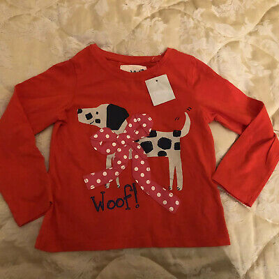 Bnwt Next Girls RED Cotton Top Dalmatian Dog With Spotty Bow Gorgeous 3-4 Yrs