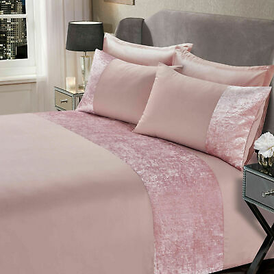Sienna Crushed Velvet Panel Duvet Cover with Pillow Case Bedding Set Blush Pink