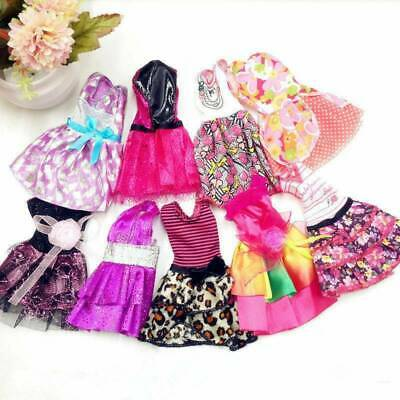 10 Pack Cute Doll Clothes Party Gown Outfits Shoes Glasses Necklaces for Girls