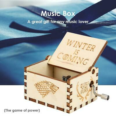 Retro Vintage Wooden Hand Cranked Music Box Home Crafts Ornaments Decor NI5L