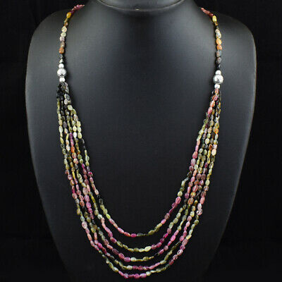150.00 Cts Earth Mined Untreated Watermelon Tourmaline Beads Necklace JK 44E167