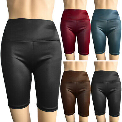 Damen Hohe Taille Kunstleder Shorts Lack Optik Yoga Sport Hotpants Shorts Mode