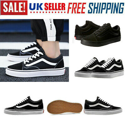 Van Old Skool Shoes White/Black All Size Classic Canvas Sneakers Lowtop UK