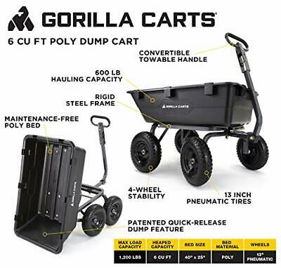 Gorilla 1200-LB Yard Garden Cart Wagon Dump Hauler Rock Wheelbarrow Wheel Barrow