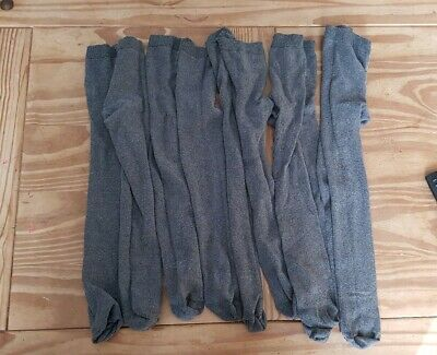 Girls Grey School Thick Tights Bundle 5 Pairs Age 7-8