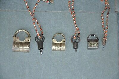 3 Pc Old Brass & Iron Engraved Small/Penny Handcrafted Screw Padlocks
